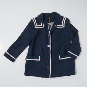 Cute H&M nautical anchor sailor coat jacket Sm. 6